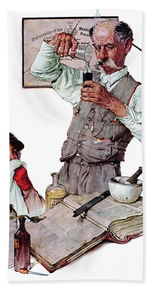 Boy Beach Towel featuring the drawing Pharmacist by Norman Rockwell