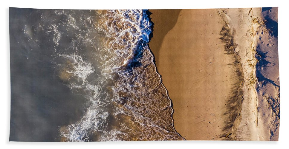 Pierport Beach Towel featuring the photograph Pierport Waves And Beach Aerial by Twenty Two North Photography