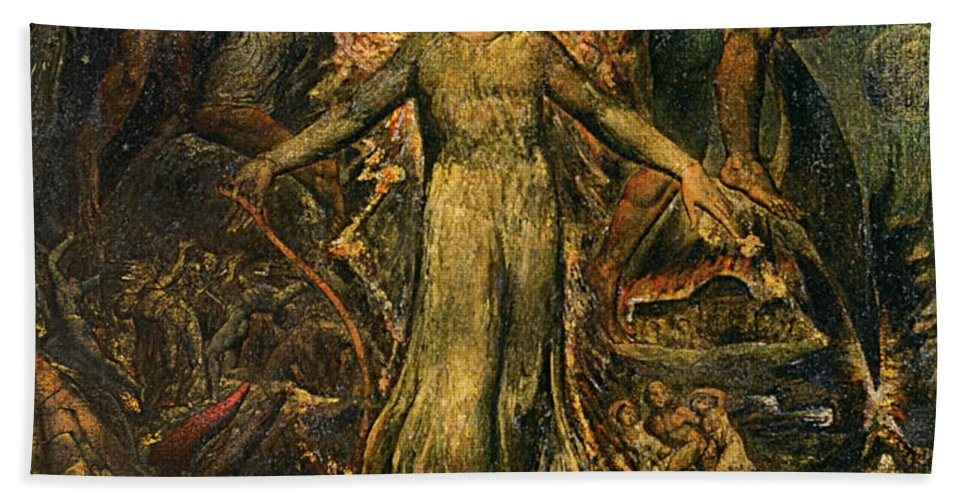 1805 Beach Towel featuring the painting Pitt Guiding Behemoth, C1805 by William Blake