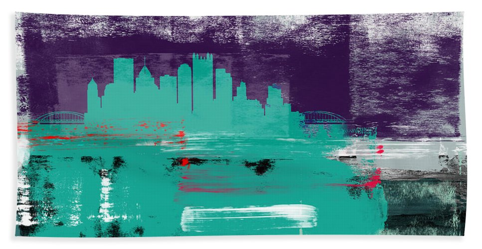Pittsburgh Beach Towel featuring the mixed media Pittsburgh Abstract Skyline II by Naxart Studio