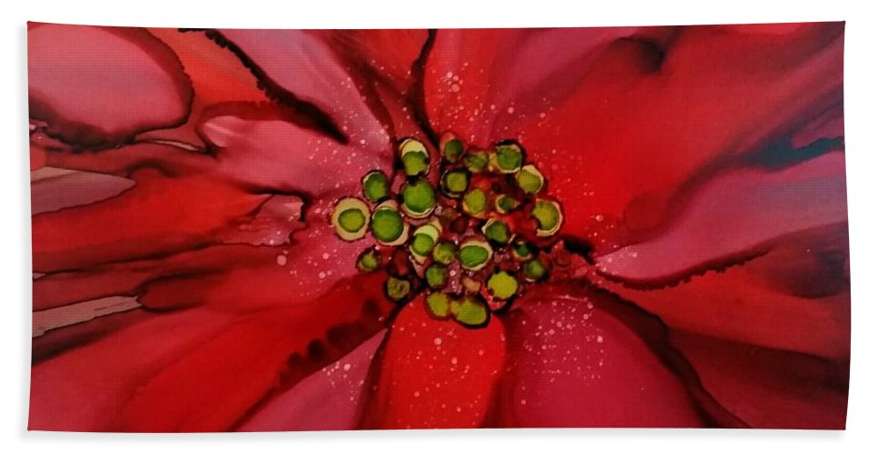 Alcohol Ink Beach Towel featuring the painting Poinsettia by Beth Kluth