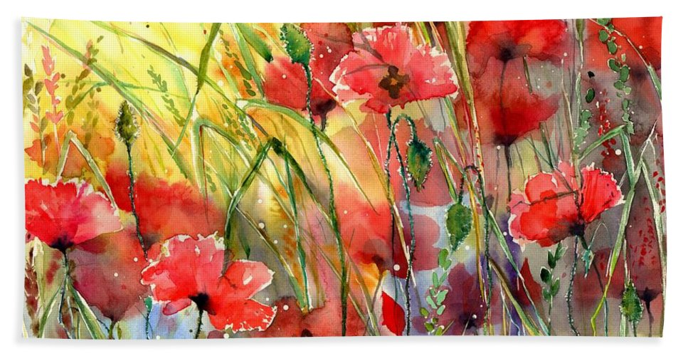 Red Beach Towel featuring the painting Poppies Bathing In The Sun by Suzann Sines