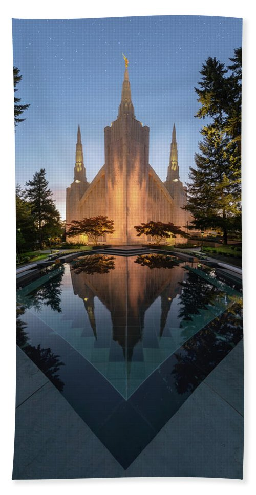 Latter Day Saints Beach Towel featuring the photograph Portland Temple Night by Dustin LeFevre