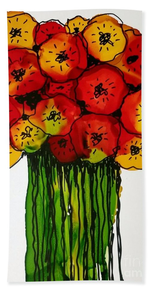 Alcohol Ink Beach Towel featuring the painting Posca Bouquet 2 by Beth Kluth