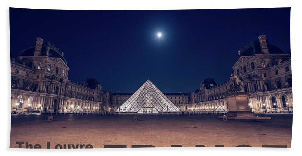 1st Arrondissement Beach Sheet featuring the photograph Poster Of The Louvre Museum At Night With Moon Above The Pyrami by PorqueNo Studios