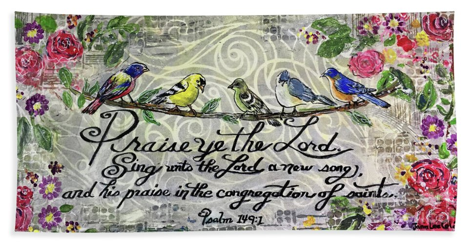 Little Birds Beach Sheet featuring the mixed media Praise Birds by Janis Lee Colon