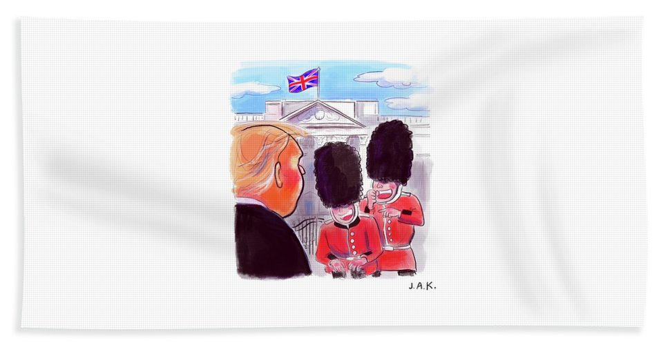 Captionless Beach Sheet featuring the painting Presidential Visit To The Uk by Jason Adam Katzenstein