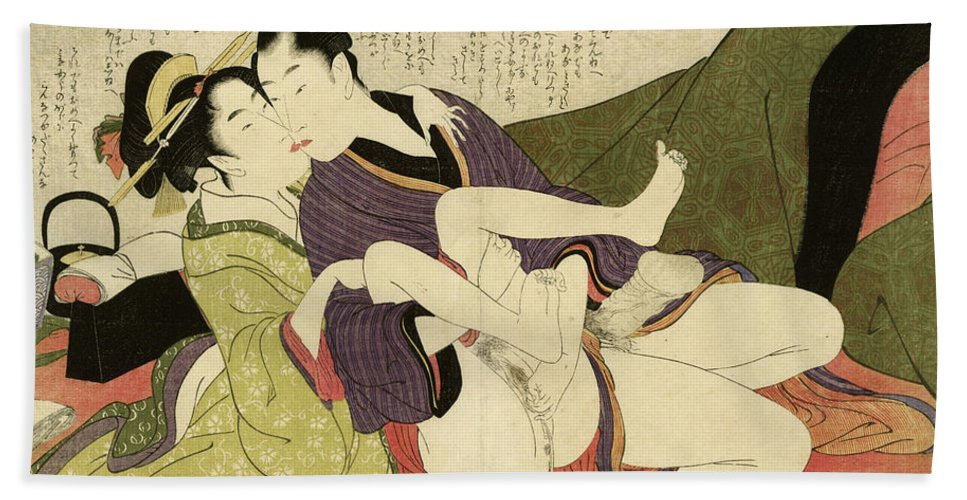 Kitagawa Beach Towel featuring the painting Prostitute Kissing With Young Man, 1799 by Kitagawa Utamaro