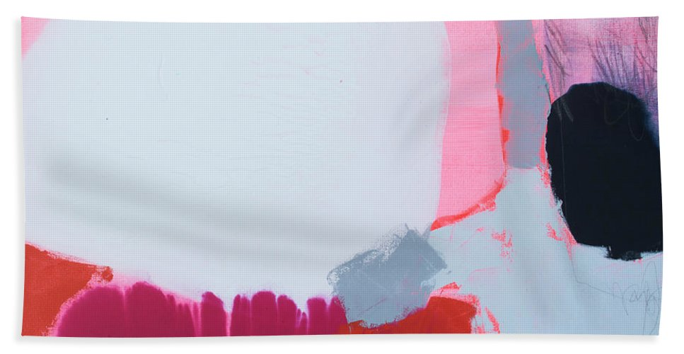 Abstract Beach Towel featuring the painting Pussycats In Pussy Hats by Claire Desjardins