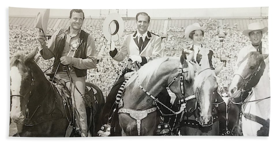 Photograph Los Angeles Sheriffs Rodeo Coliseum Actor James Arness Sheriff Peter Pitchess Miss Usa Terry Huntingdon Crooner Fabian Horses Spectators Event Cowboys Cowgirl Dale Evans Showhorse Entertainment Beach Towel featuring the photograph Queen Of The Los Angeles Sheriffs Rodeo by Terry Huntingdon Tydings