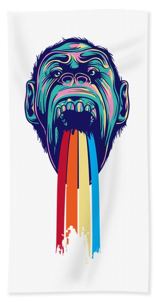 Lgbtq Beach Towel featuring the digital art Rainbow Tongued Monkey by Passion Loft