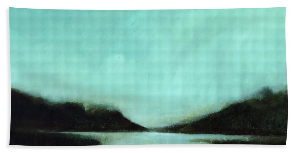 Landscape Painting Beach Towel featuring the painting Rainy Day At The Lake by Filomena Booth
