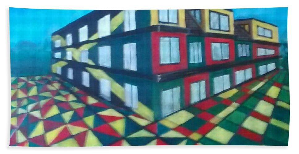 Rasta Art Beach Towel featuring the painting Rasta Academy by Andrew Johnson