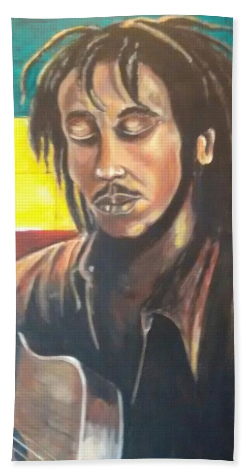 Rasta Art Beach Towel featuring the painting Rasta Music by Andrew Johnson