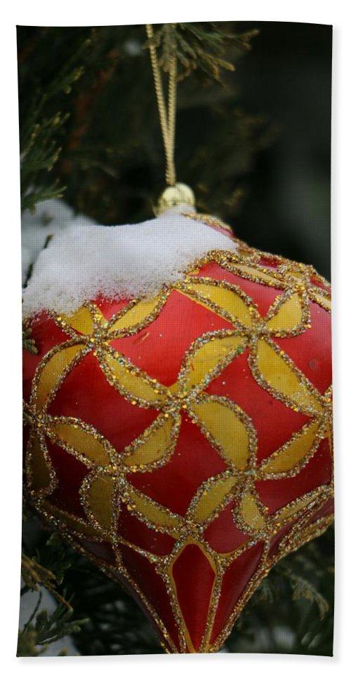 Beach Towel featuring the photograph Red And Gold Ornament by The Art Of Marilyn Ridoutt-Greene