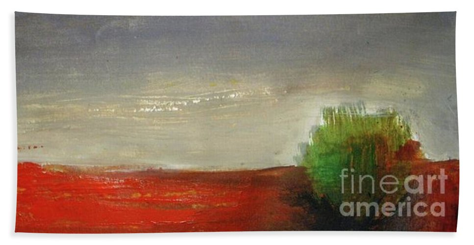 Panorama Beach Towel featuring the painting Red Land by Vesna Antic