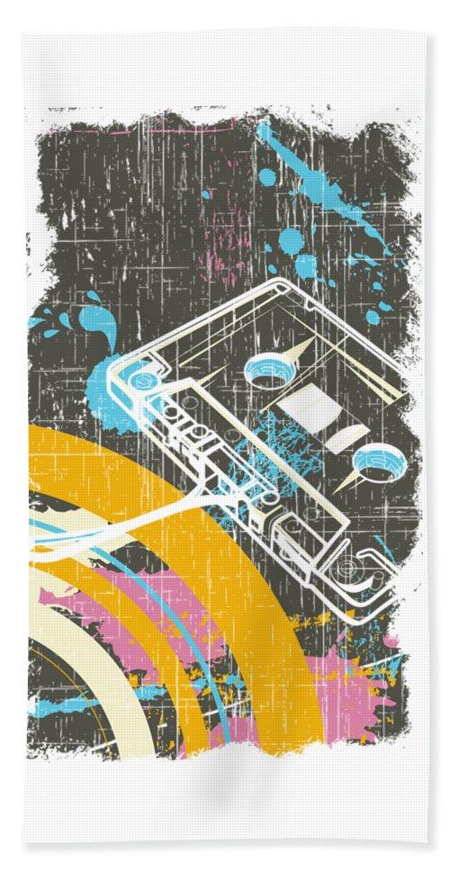 Dj Beach Towel featuring the digital art Retro Vintage Classic Cassette by Passion Loft
