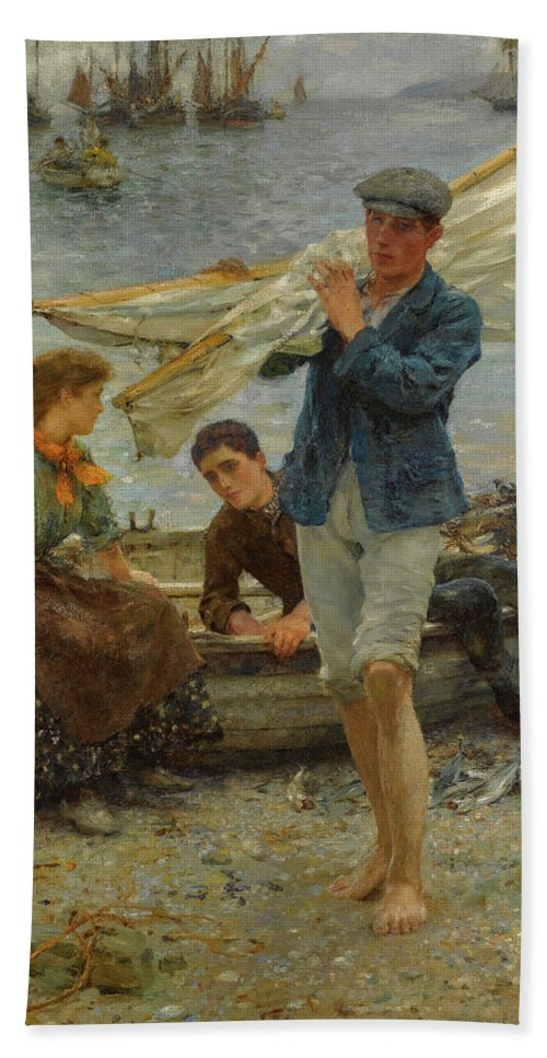 Henry Scott Tuke Beach Sheet featuring the painting Return From Fishing, 1907 by Henry Scott Tuke