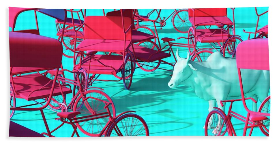 Rickshaw Beach Towel featuring the digital art Rickshaws and Cow by Heike Remy