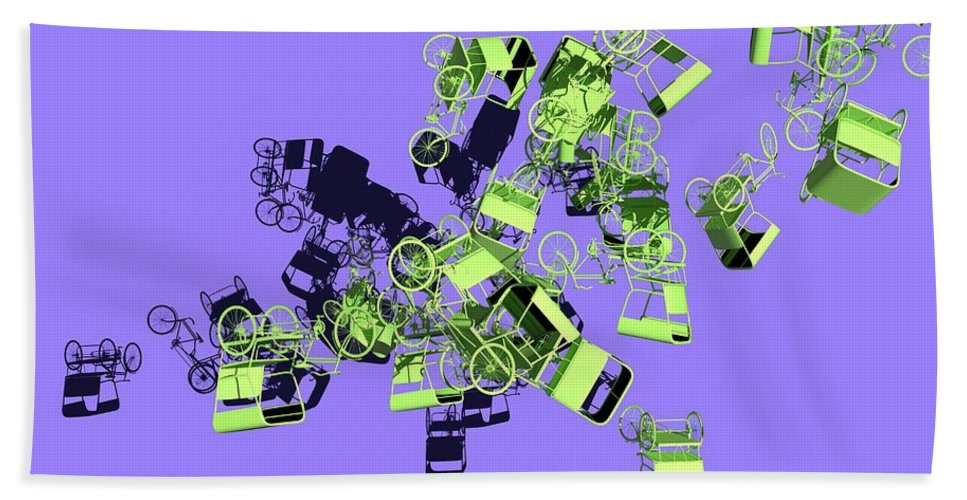 Rickshaw Beach Towel featuring the digital art Green Rickshaws Flying by Heike Remy