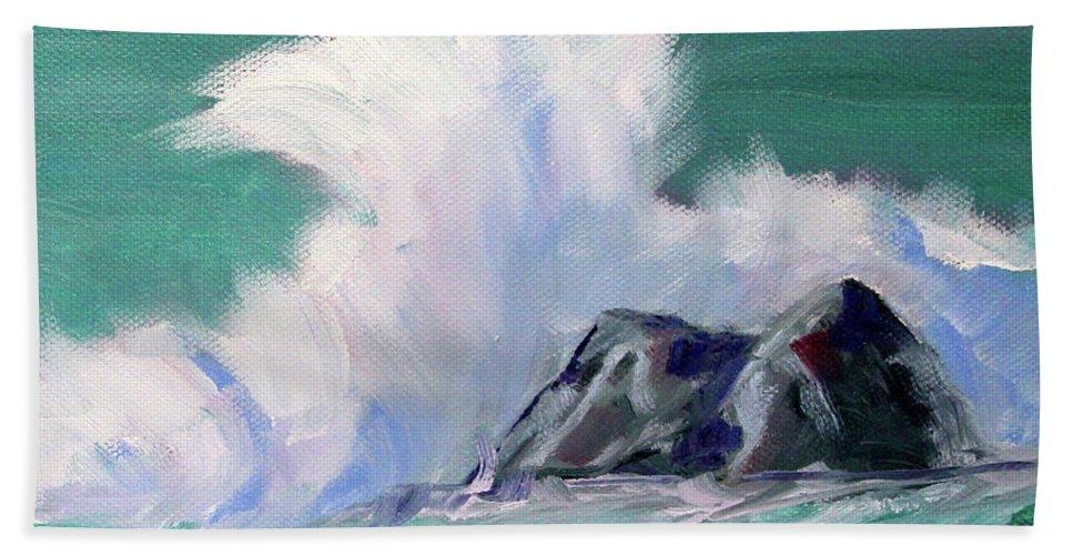 Rocky Coastline Beach Sheet featuring the painting Rocky Coastline by Nancy Merkle