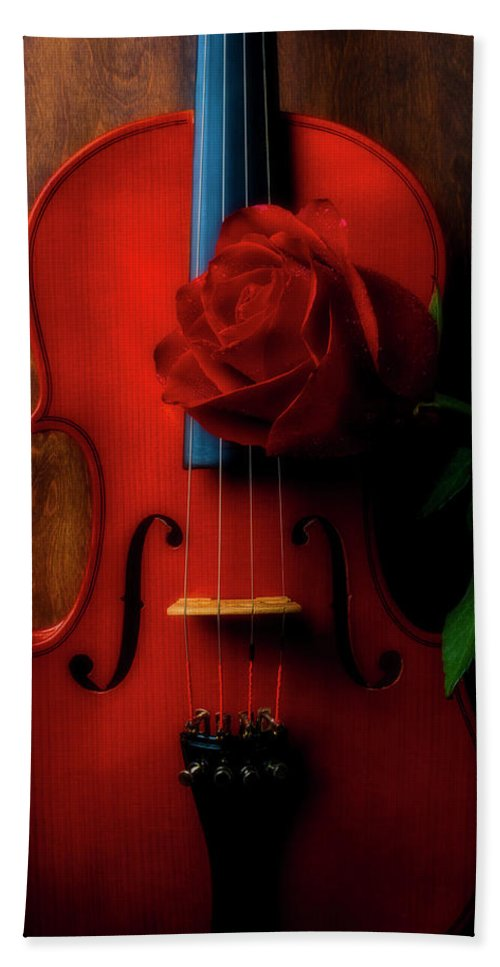 Violin Beach Sheet featuring the photograph Romantic Rose With Violin by Garry Gay