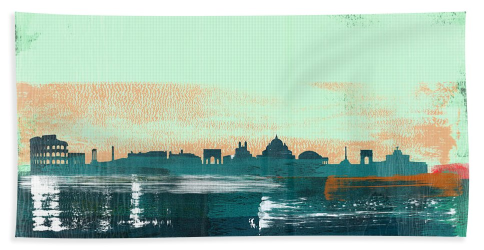Rome Beach Towel featuring the mixed media Rome Abstract Skyline I by Naxart Studio