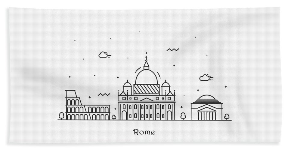 Rome Beach Towel featuring the drawing Rome Cityscape Travel Poster by Inspirowl Design