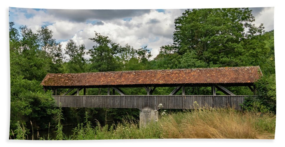 Rothenburg Bridge Beach Towel featuring the photograph Rothenburg Covered Bridge by Norma Brandsberg