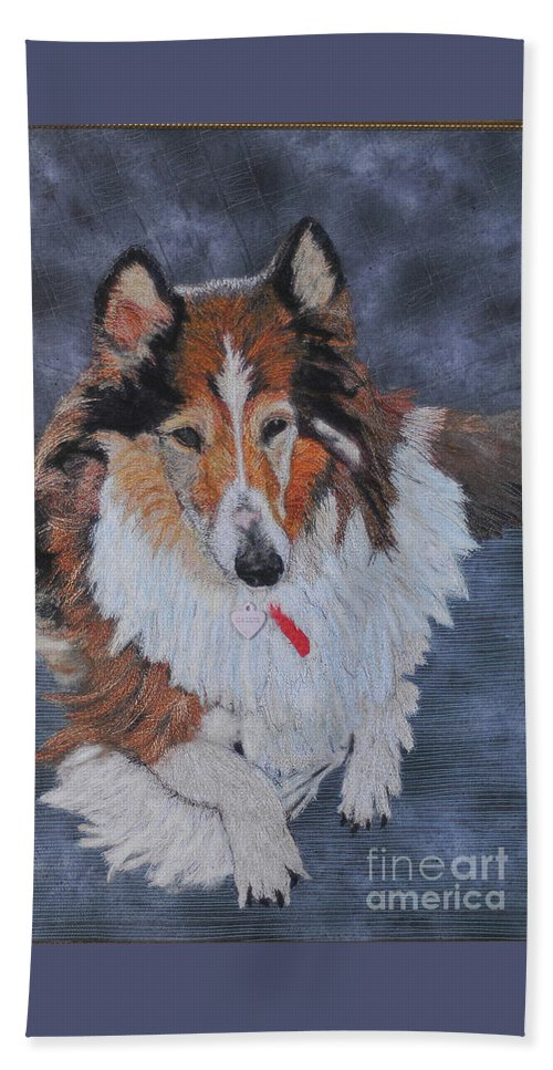 Rough Collie Beach Towel featuring the tapestry - textile rough Collie by Dolores Fegan