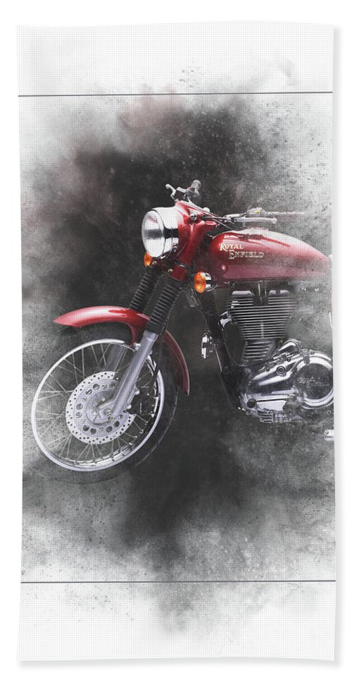 Royal Enfield Beach Towel featuring the mixed media Royal Enfield Bullet Electra Efi Painting by Smart Aviation