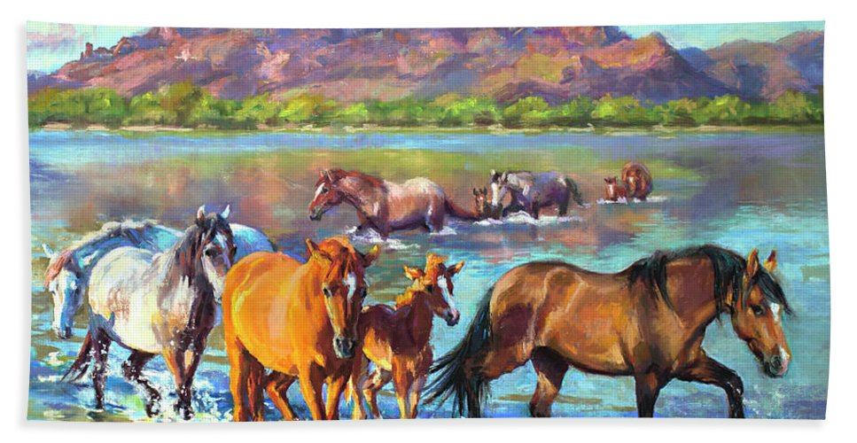 Pastel Beach Towel featuring the painting Salt River Solitude by Jean Hildebrant