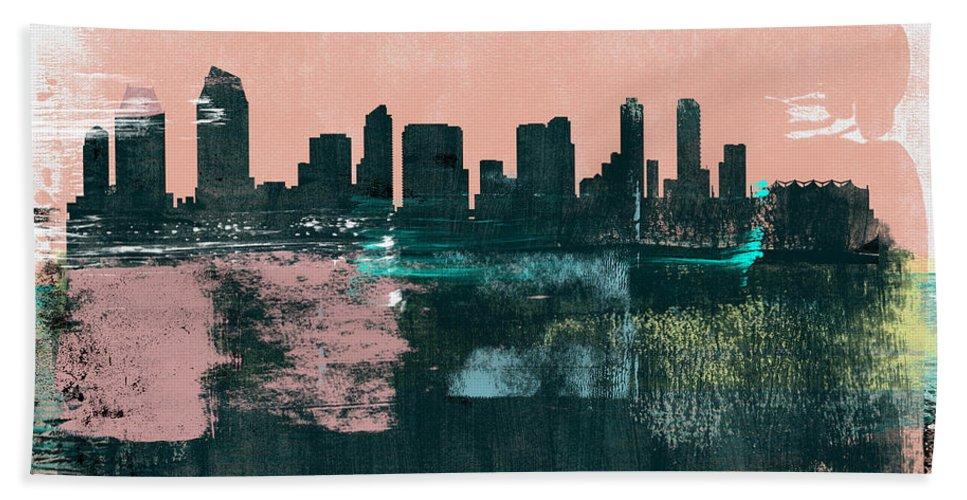 San Diego Beach Towel featuring the mixed media San Diego Abstract Skyline I by Naxart Studio
