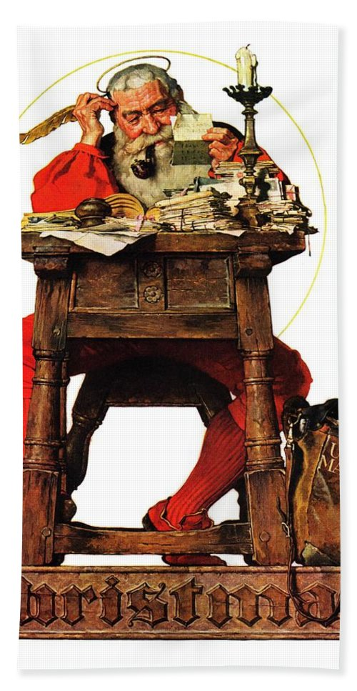 Christmas Beach Towel featuring the drawing Santa At His Desk by Norman Rockwell