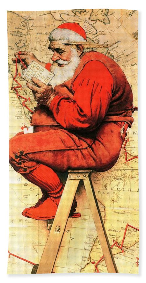 Christmas Beach Towel featuring the drawing Santa At The Map by Norman Rockwell