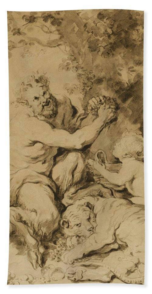 French Art Beach Towel featuring the drawing Satyr Pressing Grapes Beside A Tiger by Jean-Honore Fragonard