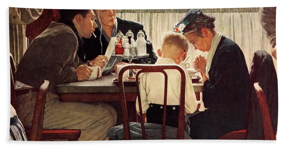 Eating Beach Towel featuring the drawing Saying Grace by Norman Rockwell