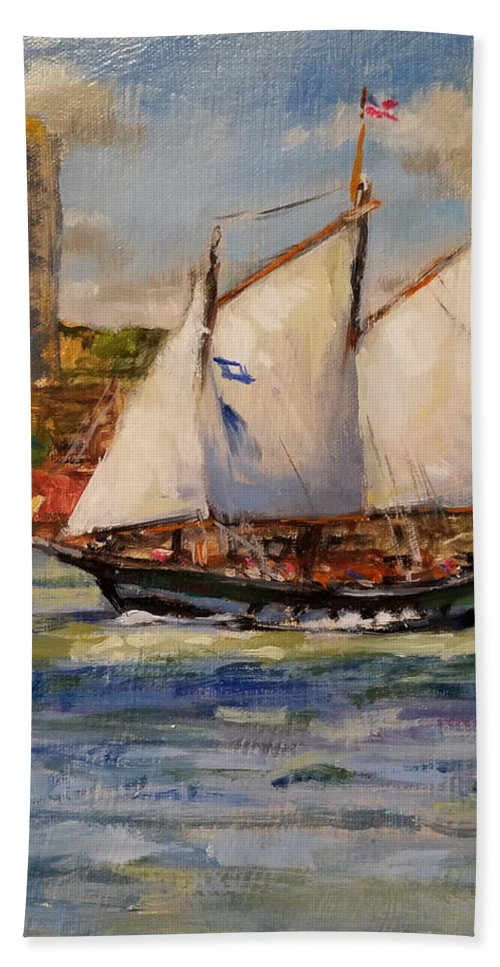 Hudscon River Beach Towel featuring the painting Schooner Mystic Whaler Cruising The Hudson by Peter Salwen