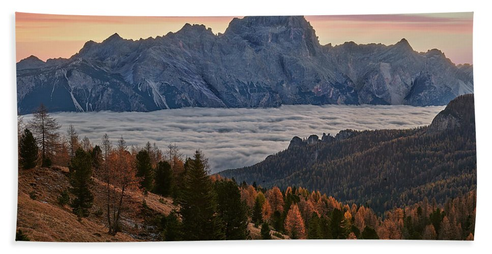 Dolomites Beach Towel featuring the photograph Sea Of Clouds In The Dolomites by Jon Glaser