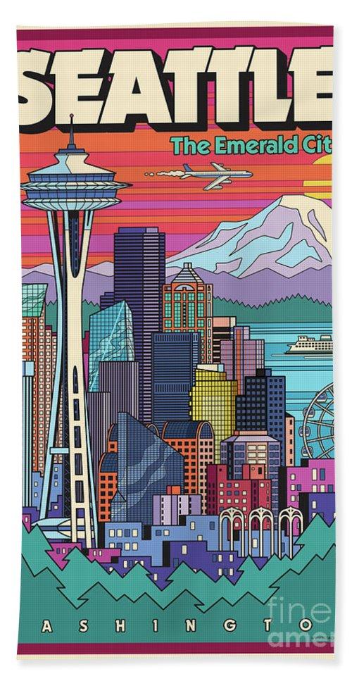 Seattle Beach Towel featuring the digital art Seattle Poster - Pop Art Skyline by Jim Zahniser