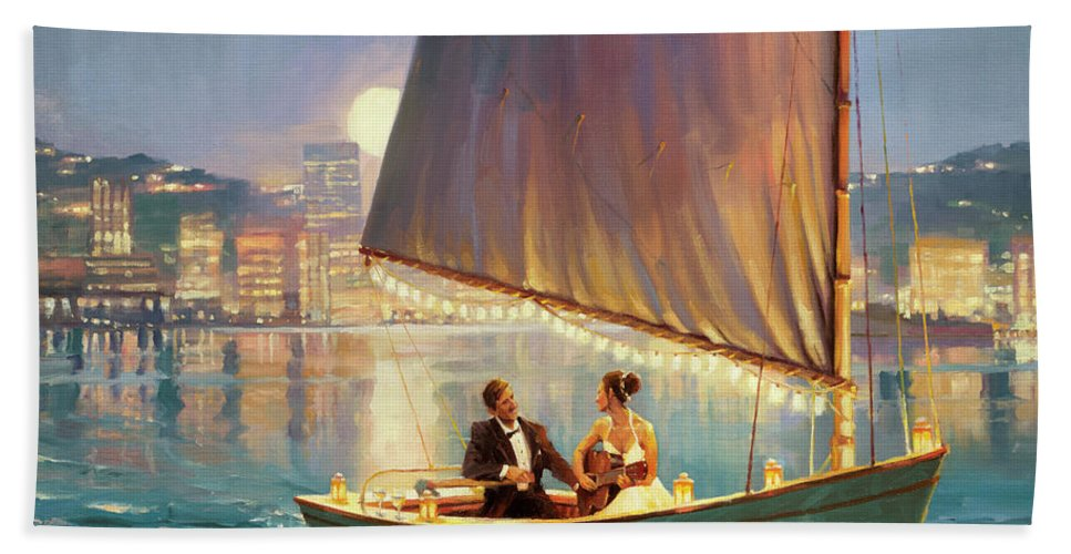 Romance Beach Towel featuring the painting Serenade by Steve Henderson