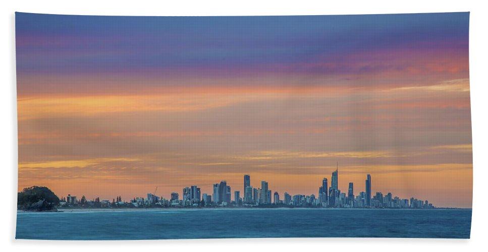 Gold Coast Skyline Beach Towel featuring the photograph Serene And Magical by Az Jackson