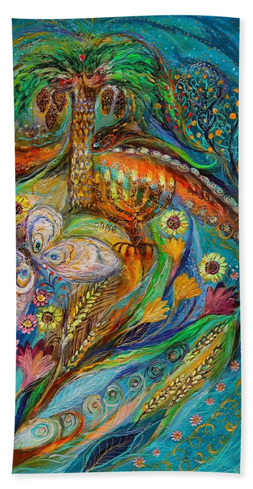 Jewish Art Beach Sheet featuring the painting Seven Spices Of Holy Land II by Elena Kotliarker