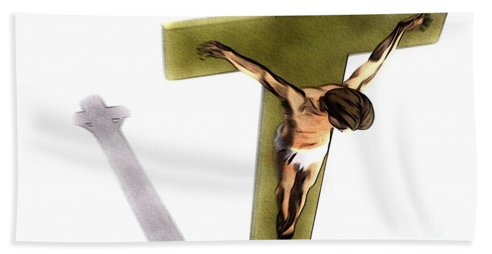 Jesus Beach Towel featuring the painting Shadow Of The Cross by Pierre Blanchard