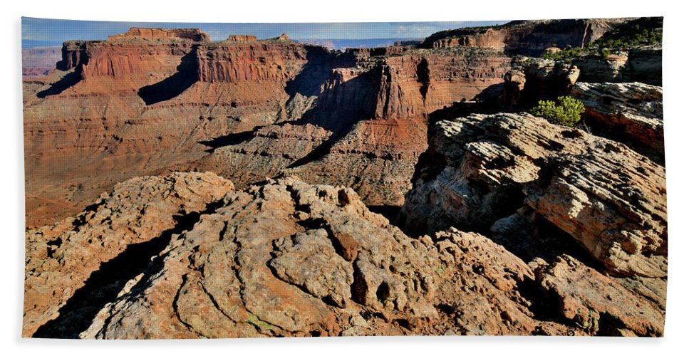 Canyonlands National Park Beach Towel featuring the photograph Shafer Canyon In Canyonlands Np by Ray Mathis