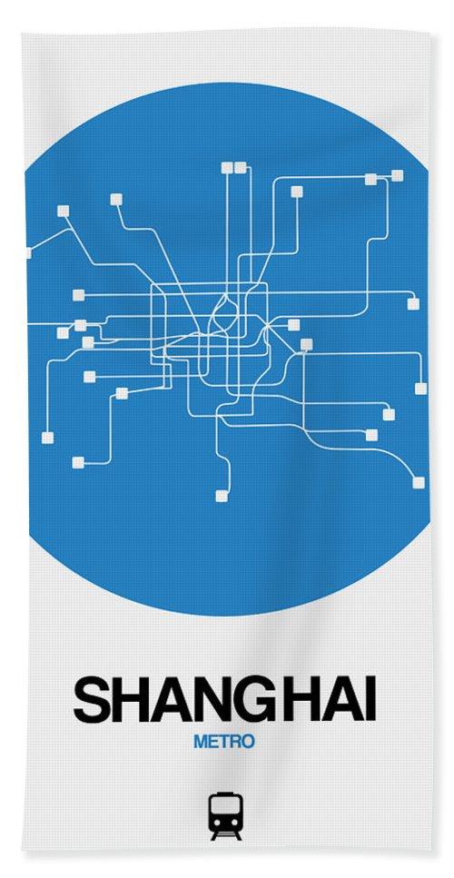 Vacation Beach Towel featuring the digital art Shanghai Blue Subway Map by Naxart Studio