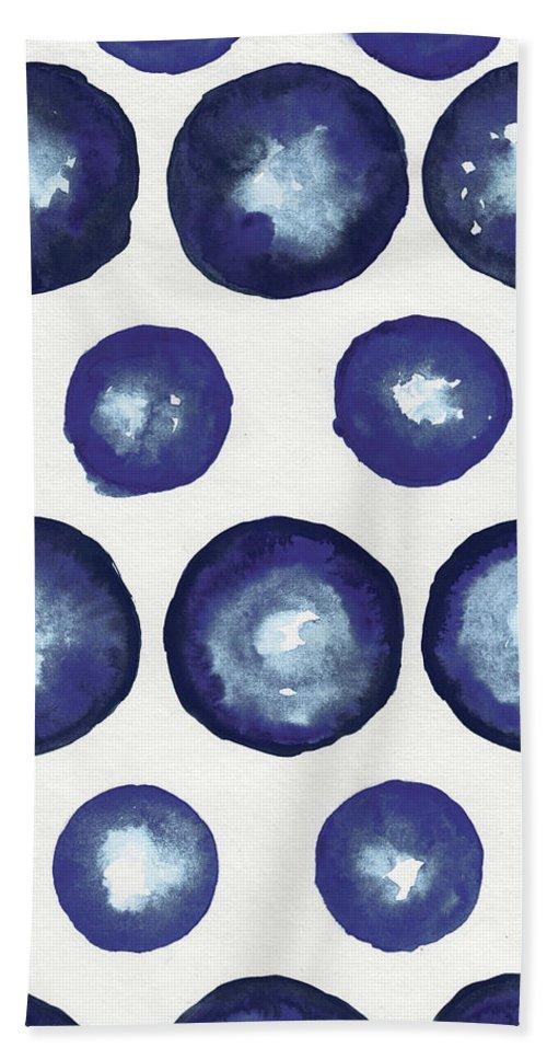 Shibori Beach Towel featuring the mixed media Shibori Dots by Elizabeth Medley