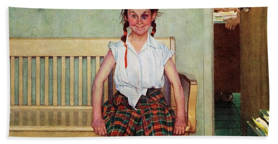 Black Eyes Beach Towel featuring the drawing Shiner by Norman Rockwell