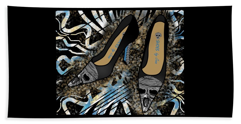 Fashion Beach Towel featuring the drawing Shoes By Joan Skull Black Pumps by Joan Stratton