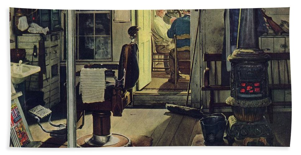 Barbers Beach Towel featuring the drawing Shuffleton's Barbershop by Norman Rockwell
